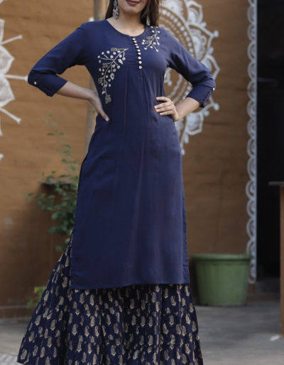 Blue kurti and blue sharara