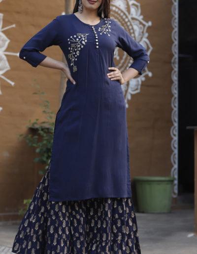 Blue kurti and blue sharara