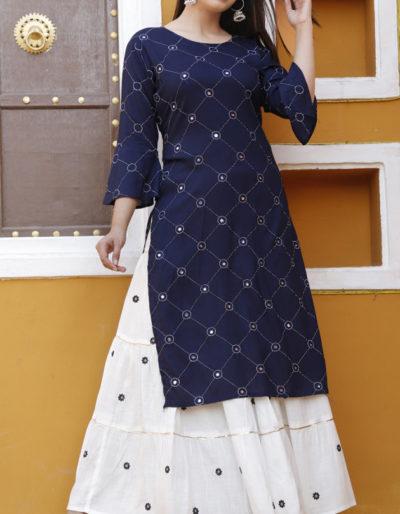 Blue kurti and white skirt