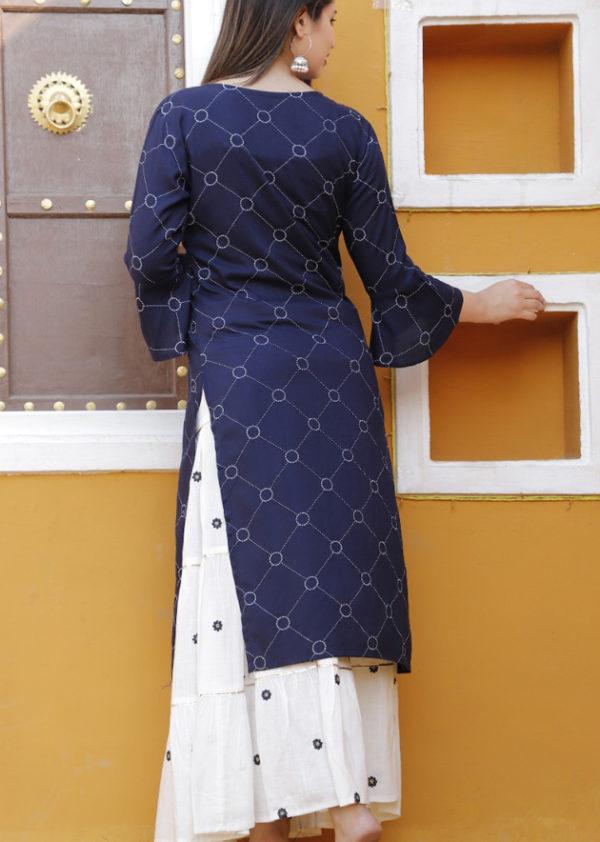 Blue kurti and white skirt 3