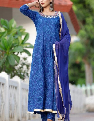 Cotton blue printed kurti
