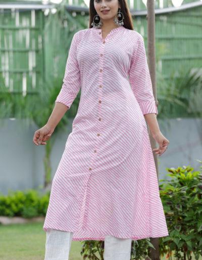 Cotton white kurti with pink stripes