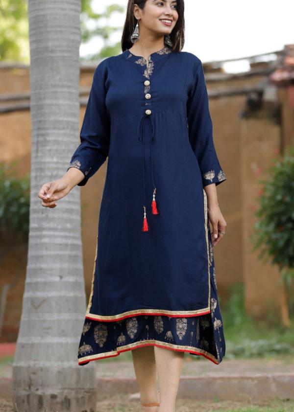 Double-layered blue kurti