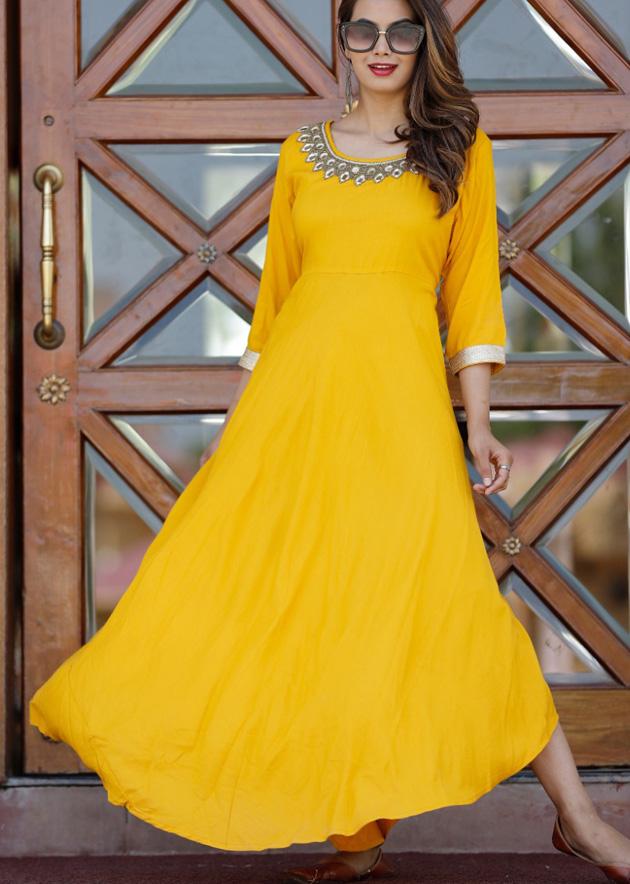 Long yellow kurti adda work