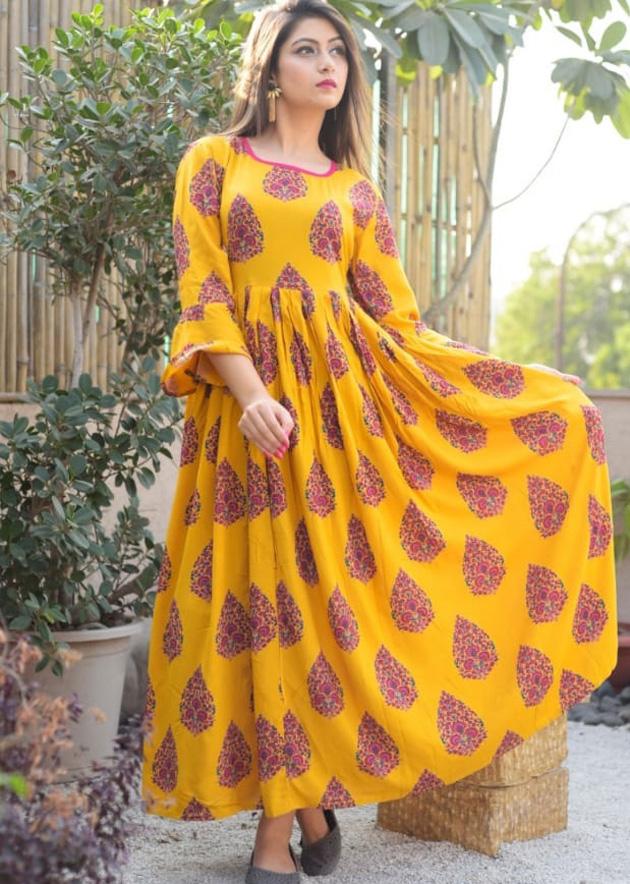 Long yellow kurti with prints
