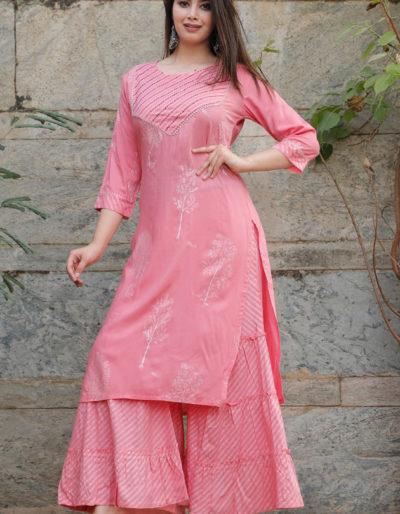 Pink kurti and palazzo
