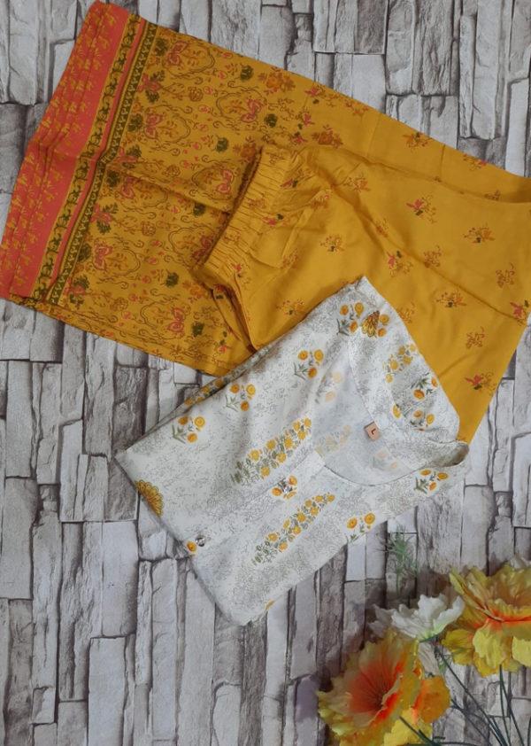 Printed kurti with full flared printed orange palazzo