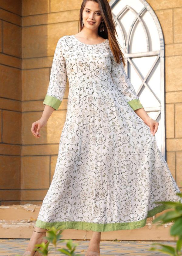 Printed long white kurti