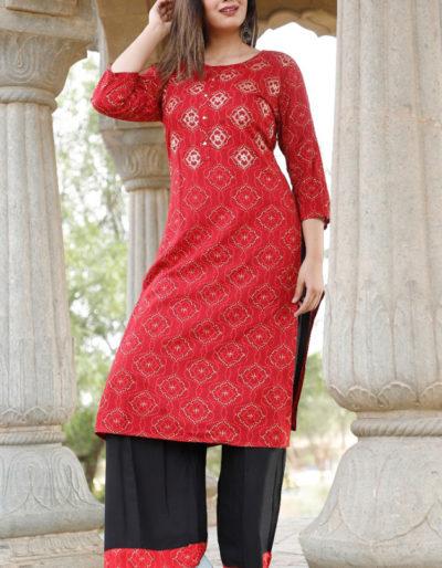 Red printed kurti and black palazzo