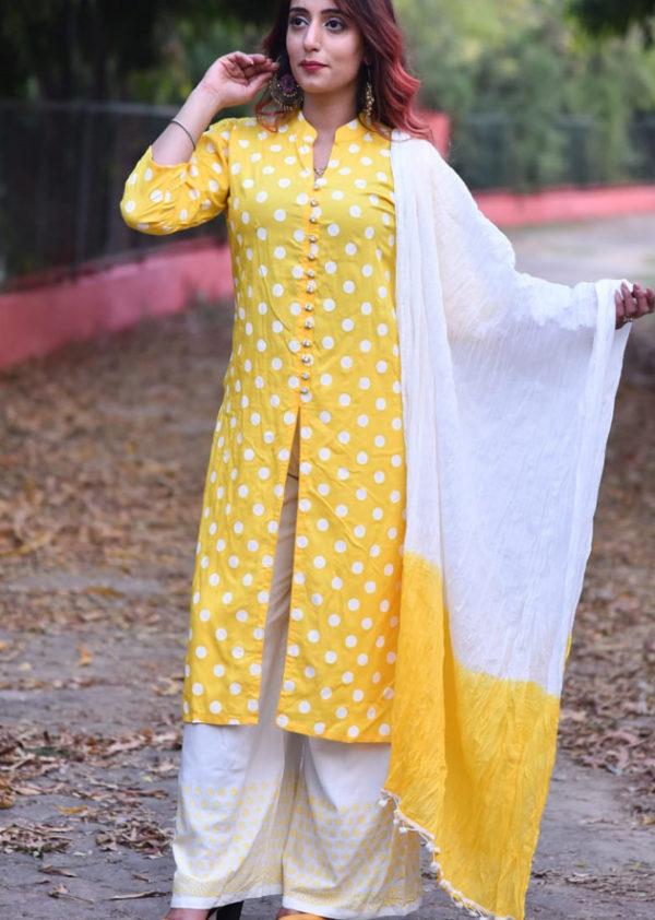 Yellow kurti and printed palazzo