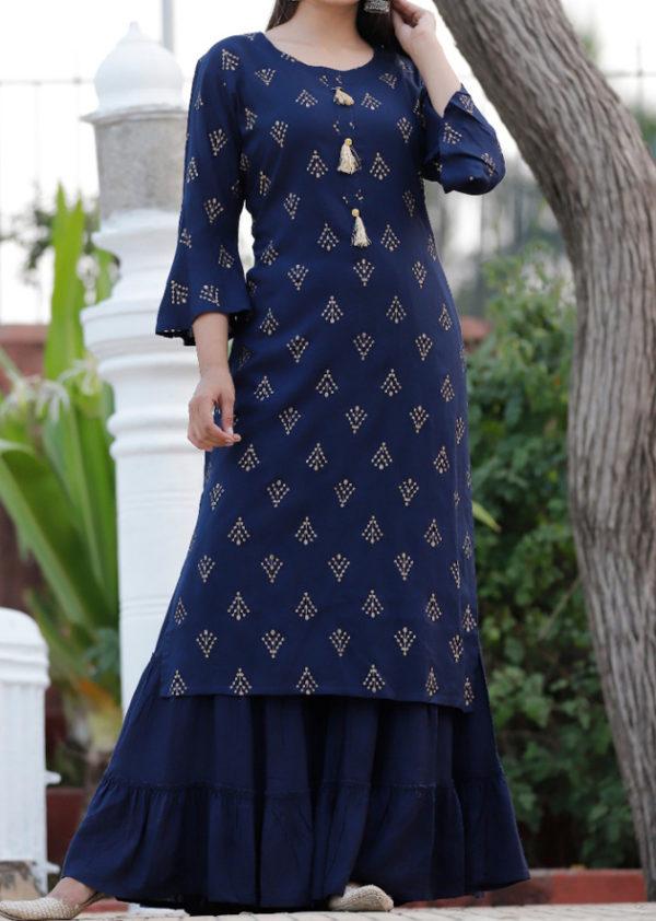 blue kurti bell sleeves