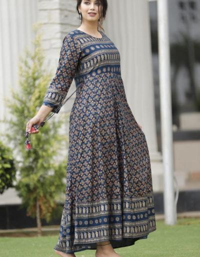 Beautifully printed blue long kurti