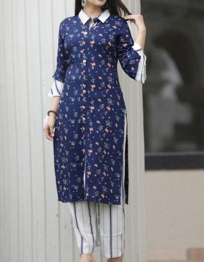 Blue kurti with floral prints