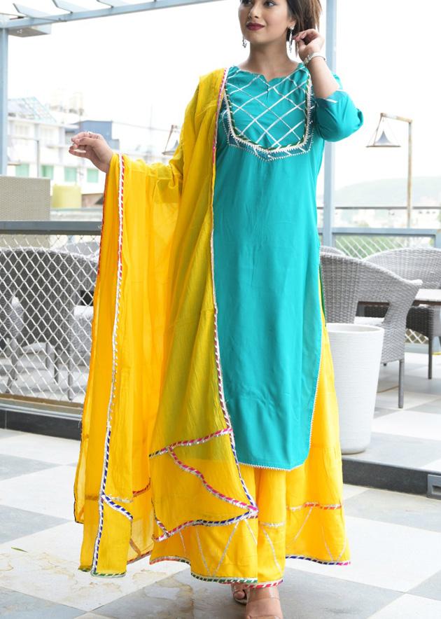 Blue kurti with yellow skirt