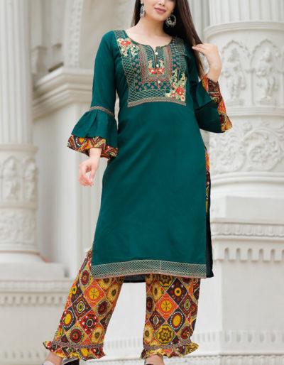 Green embroidered kurti
