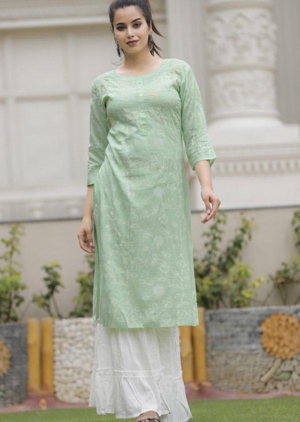 Light green kurti with beautiful adda work