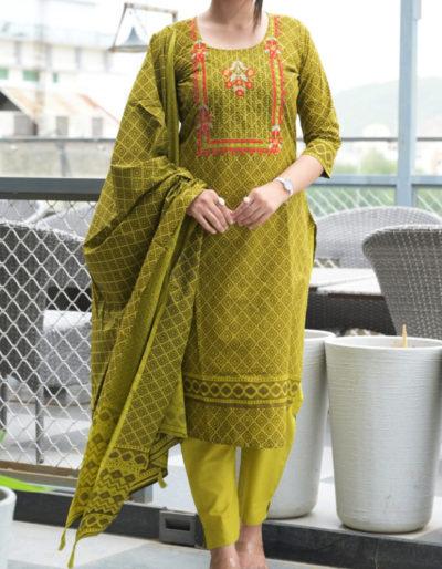 Printed green kurti