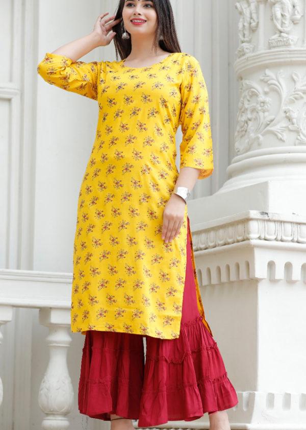 Yellow kurti and maroon sharara