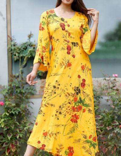 long yellow kurti