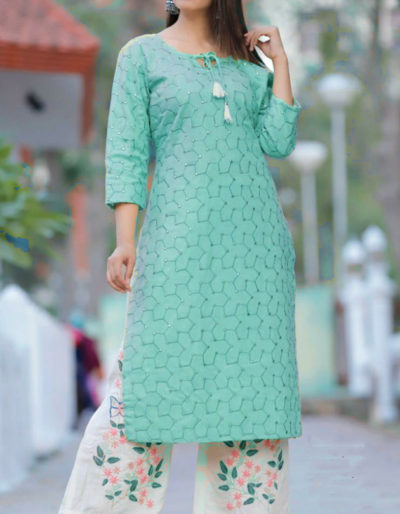 Heavy embroidery work printed kurti