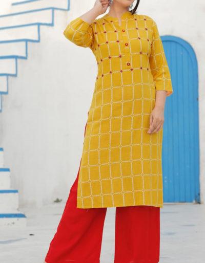 Orange straight kurti