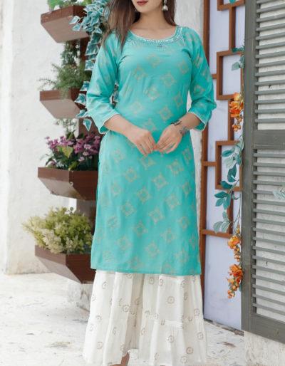 Printed kurti with multi-colour gota