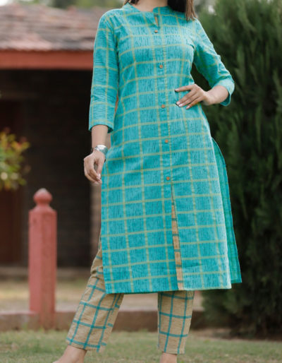 Blue kurti checkered pant