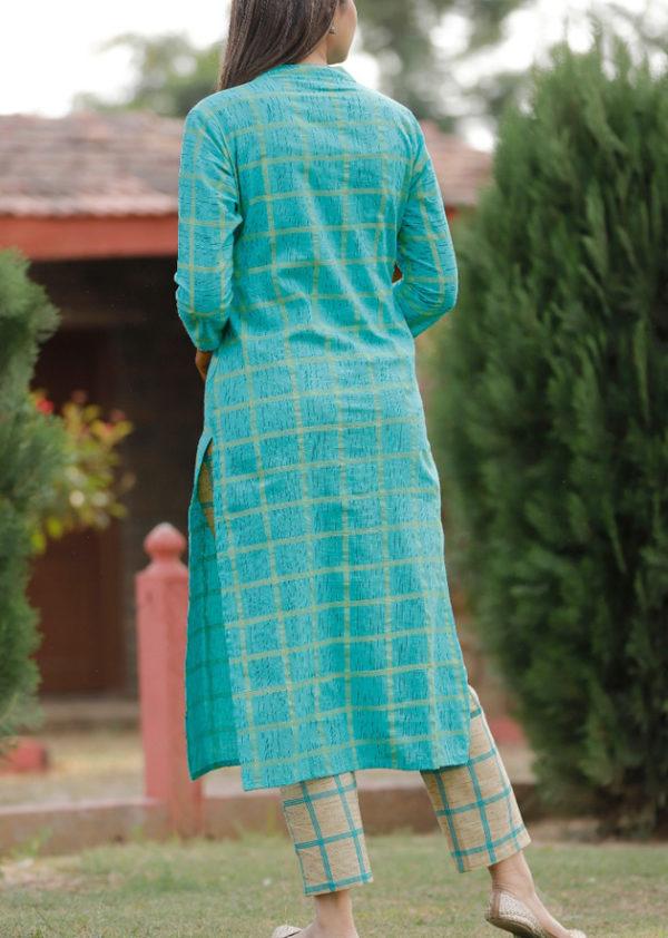 Blue kurti checkered pant