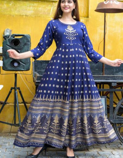Blue long kurti adda work