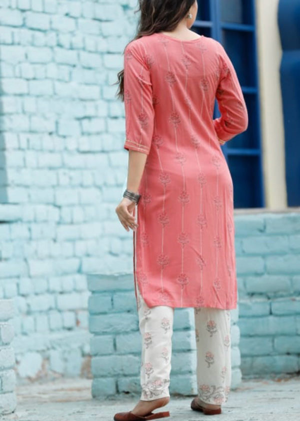 Cotton pink kurti and off-white pant