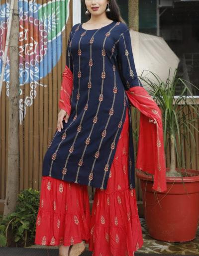 Dark blue kurti, red sharara