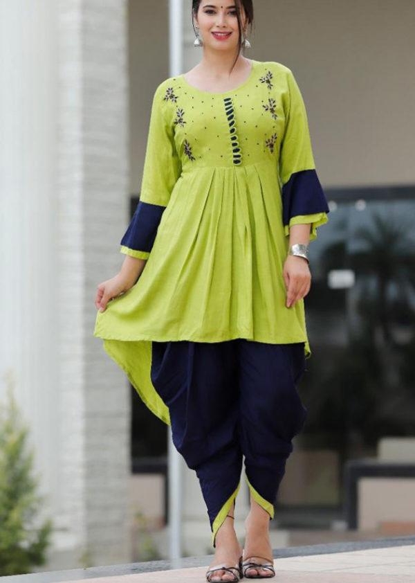 Green kurti and black dhoti