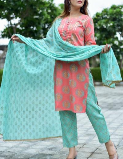 Pink kurti with gota detailing