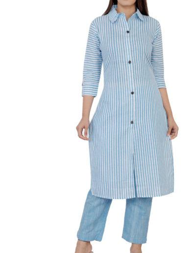 South cotton blue kurti pant set