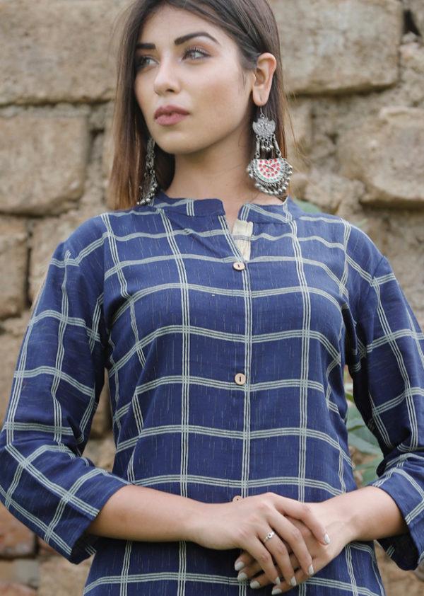 Checkered design blue kurti and pant
