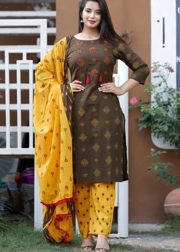 Cotton cambric kurti, pant and dupatta