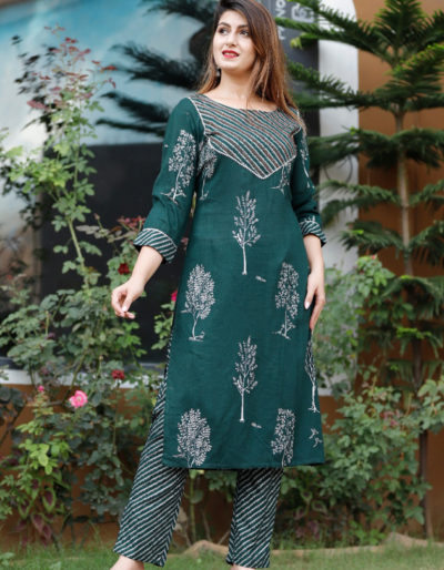 Green kurti with pant