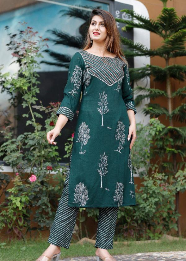 Green kurti with pant