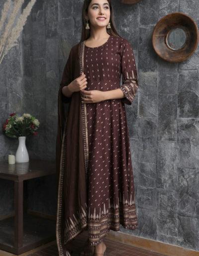 Dark brown long kurti