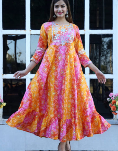 Flared bandhej printed long kurti