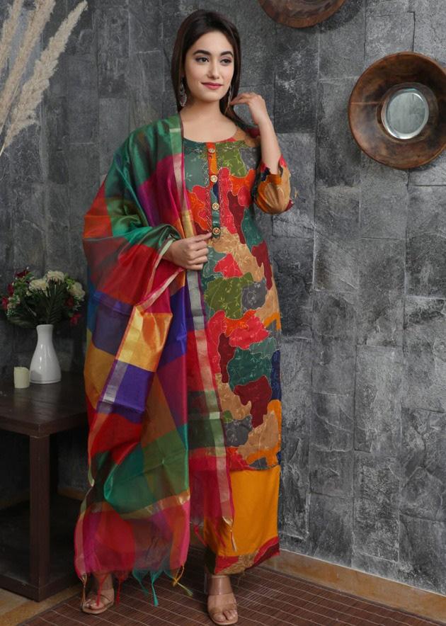 Multi-colour kurti, palazzo & dupatta with beautiful prints & handwork -  Kurti Fashion
